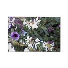 White Blooms Rectangle Magnet