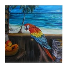 Scarlet macaw and mango Tile Coaster