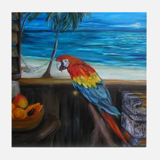 Scarlet macaw and mango Tile Coaster
