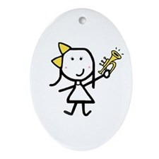 Girl & Trumpet Oval Ornament