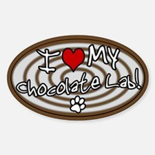 Hypno I Love My Chocolate Lab Oval Decal
