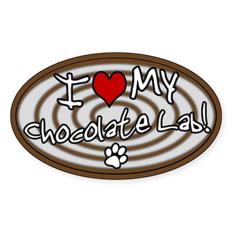 Hypno I Love My Chocolate Lab Oval Sticker