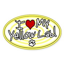 Hypno I Love My Yellow Lab Oval Decal