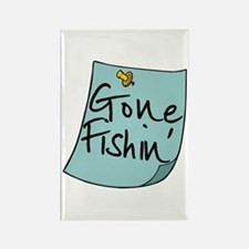 Gone Fishin' Note Rectangle Magnet