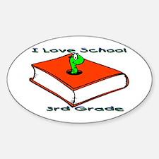Bookworm 3rd Grade Oval Decal
