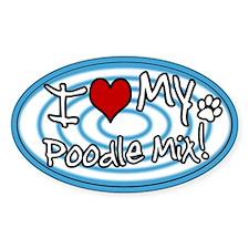 Hypno I Love My Poodle Mix Oval Sticker Blue