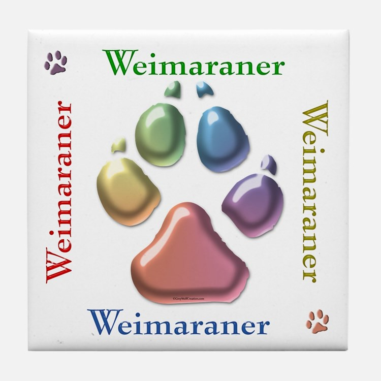 Weim Name2 Tile Coaster