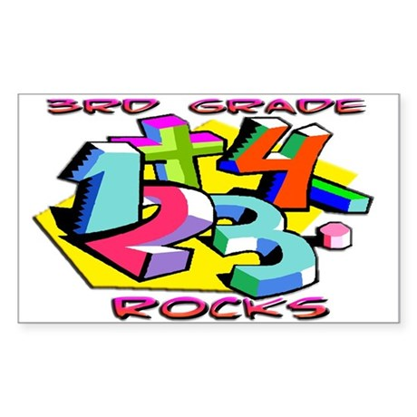 Numbers 3rd Grade Rectangle Sticker