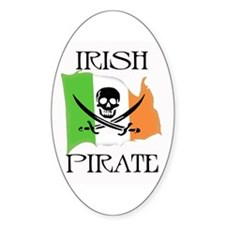 Irish Pirate Flag Oval Bumper Stickers