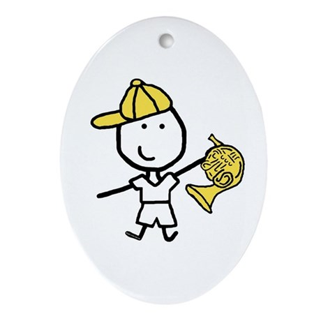 Boy & French Horn Oval Ornament