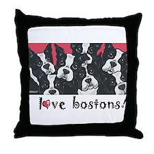 I Love Bostons! Throw Pillow