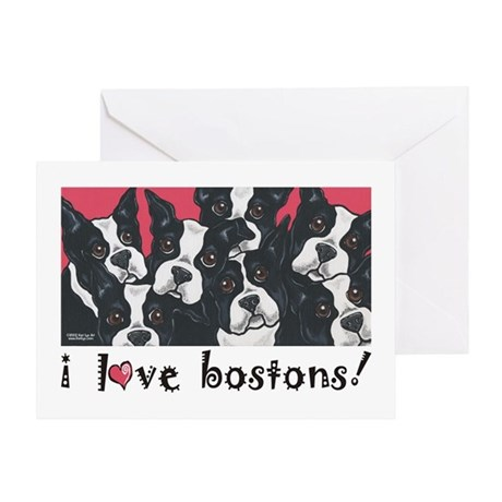 I Love Bostons! Greeting Card