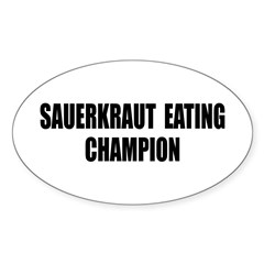 Sauerkraut Champion Oval Sticker (50 pk)