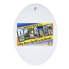Decatur Illinois Greetings Oval Ornament