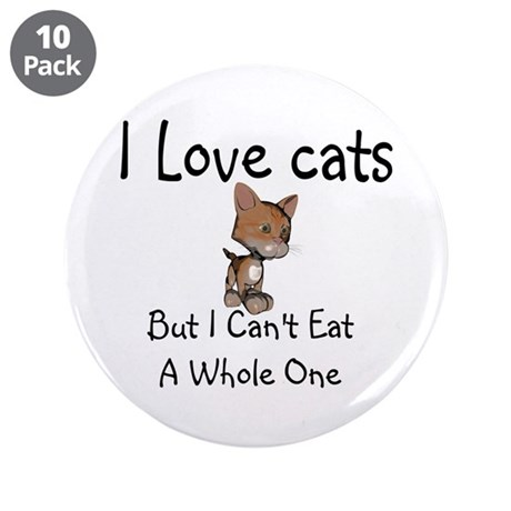 """I Love Cats 3.5"""" Button (10 pack)"""