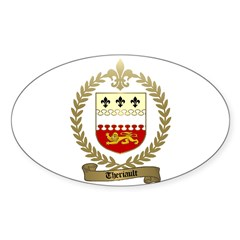 THERIAULT Family Crest Oval Decal