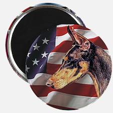 Doberman Pinscher Dobie Patriotic USA Flag Magnet