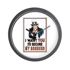 SECURE OUR BORDERS Wall Clock
