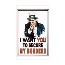 SECURE OUR BORDERS Rectangle Decal