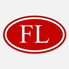 White on Red Florida Oval Decal