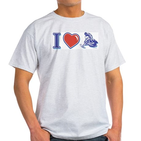 I Heart Snowmobiling Light T-Shirt