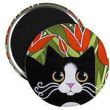 Black & White Tuxedo CAT Red Tulips Magnet