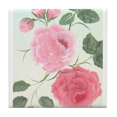 Hand Painted shabby chic rose Tile Coaster