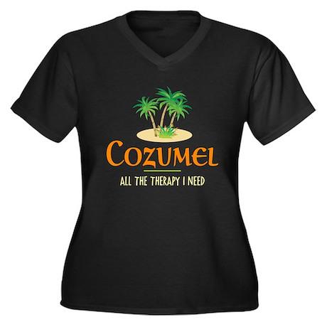 Cozumel Therapy - Women's Plus Size V-Neck Dark T-