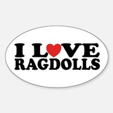 I Love Ragdoll Cats Oval Decal