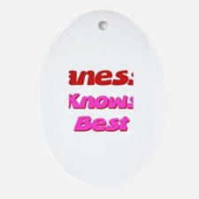 Vanessa Knows Best Oval Ornament