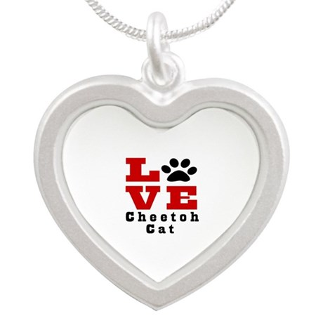 Love cheetoh Cat Silver Heart Necklace