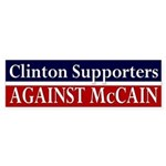 Clinton Supporters Against McCain Bumper Sticker
