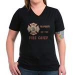 Fire Chief Property Women's V-Neck Dark T-Shirt
