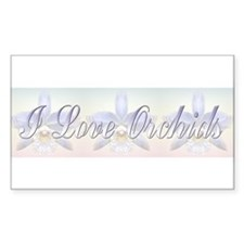 I Love Orchids Rectangle Decal