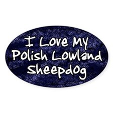 Funky Love Polish Lowland Sheepdog Oval Decal