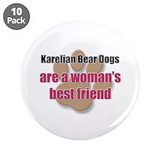 "Karelian Bear Dogs woman's best friend 3.5"" Button"