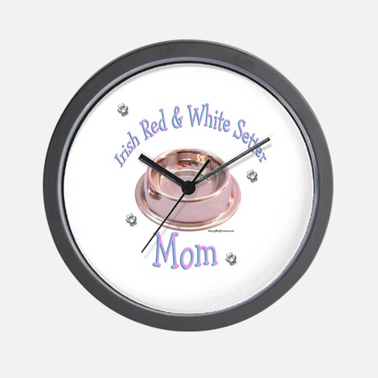 Red & White Mom Bowl Wall Clock