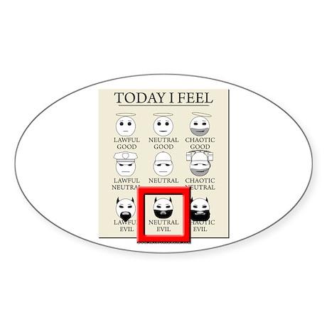 Today I Feel - Neutral Evil Oval Sticker (50 pk)
