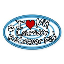 Hypno I Love My Lab Mix Oval Sticker Blue