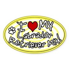 Hypno I Love My Lab Mix Oval Sticker Ylw