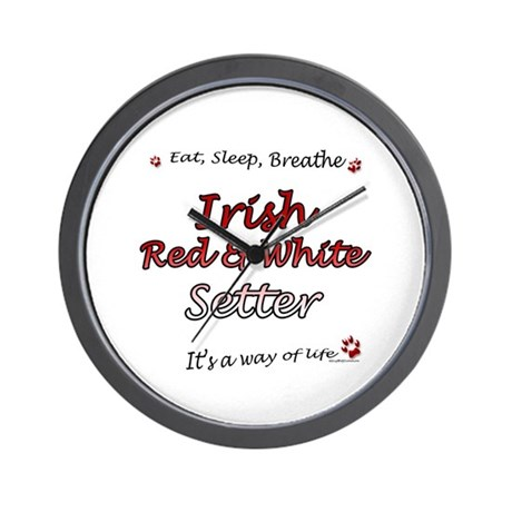 Red & White Breathe Wall Clock