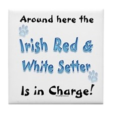 Red & White Charge Tile Coaster