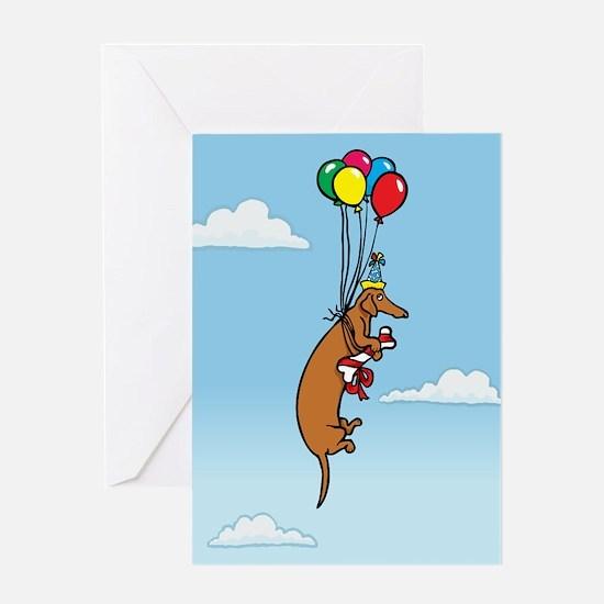Balloon Dachshund Birthday Greeting Card