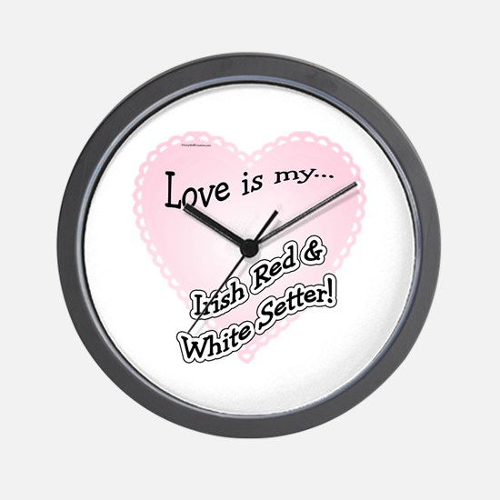 Red & White Love Is Wall Clock