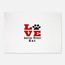 Love american wirehair Cat 5'x7'Area Rug