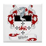 White Family Crest Tile Coaster