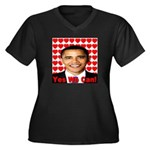 Obama Yes We Can Women's Plus Size V-Neck Dark T-S