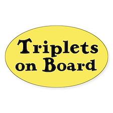 Triplets on Board - Oval Decal