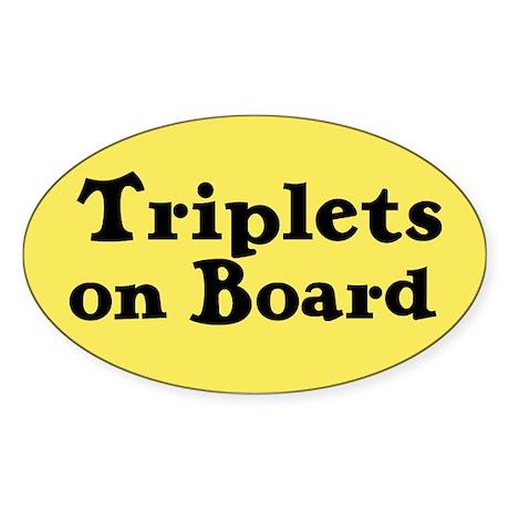 Triplets on Board - Oval Sticker