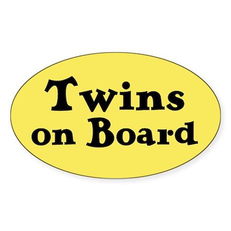 Twins on Board - Oval Sticker
